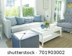 Beach blue cushion and sofa of...