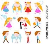 cute cartoon kids vector set | Shutterstock .eps vector #70191019