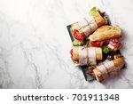 fresh baguette sandwich bahn mi ... | Shutterstock . vector #701911348