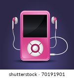 modern mp3 player with earphones | Shutterstock .eps vector #70191901