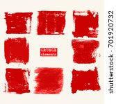 vector set of red brush strokes.... | Shutterstock .eps vector #701920732
