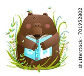 bear cub reading book cute... | Shutterstock .eps vector #701952802