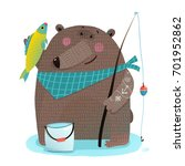 bear fisherman with fishing rod ... | Shutterstock .eps vector #701952862
