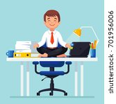 business man meditating in... | Shutterstock .eps vector #701956006