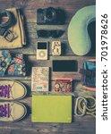 mock up of summer traveling... | Shutterstock . vector #701978626