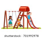 happy boy swinging on swing ... | Shutterstock .eps vector #701992978