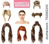hairstyles for women... | Shutterstock .eps vector #702002242