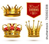 colored realistic royal crown... | Shutterstock .eps vector #702002308