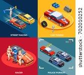 street racing drift isometric... | Shutterstock .eps vector #702010252