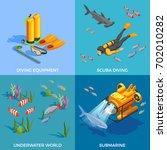 scuba diving snorkelling...   Shutterstock .eps vector #702010282