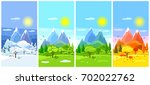 four seasons landscape. banners ... | Shutterstock .eps vector #702022762