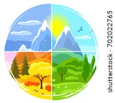 four seasons landscape.... | Shutterstock .eps vector #702022765
