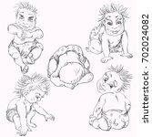 vector sketch baby different... | Shutterstock .eps vector #702024082