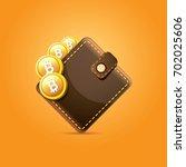 vector brown bitcoin wallet... | Shutterstock .eps vector #702025606