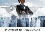 double exposure of elegant... | Shutterstock . vector #702029146
