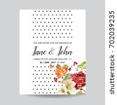 save the date card with autumn... | Shutterstock .eps vector #702039235