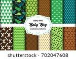 cute set of childish seamless... | Shutterstock .eps vector #702047608