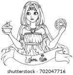 libra   zodiac hand drawn... | Shutterstock .eps vector #702047716