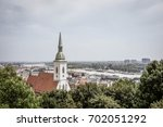 BRATISLAVA, SLOVAKIA - AUGUST 10, 2017: Panorama of the city with the St. Martin´s Cathedral - stock photo