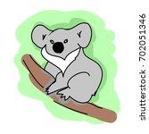 koala on a branch on white...   Shutterstock .eps vector #702051346
