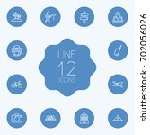 set of 12 journey outline icons ... | Shutterstock .eps vector #702056026