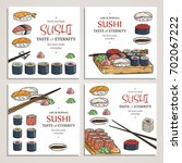 doodle sushi and rolls on wood. ... | Shutterstock .eps vector #702067222