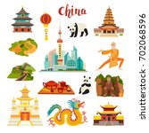 china landmarks vector icons...