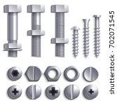 metal screws  steel bolts  nuts ... | Shutterstock .eps vector #702071545