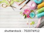 making of scrapbook greeting... | Shutterstock . vector #702076912