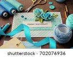 making of scrapbook greeting... | Shutterstock . vector #702076936