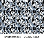 different people crowd seamless ... | Shutterstock .eps vector #702077365