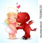 little demon's kiss | Shutterstock .eps vector #70208125