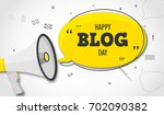 holiday blog day. megaphone and ... | Shutterstock .eps vector #702090382