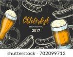 oktoberfest vintage poster.... | Shutterstock .eps vector #702099712