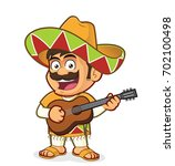 mexican man playing guitar | Shutterstock .eps vector #702100498