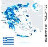 greece map and flag   vector... | Shutterstock .eps vector #702104422