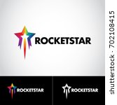 colorful rainbow rocket star...   Shutterstock .eps vector #702108415