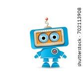 Vector Funny Cartoon Blue Robo...