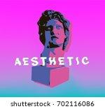 vaporwave statue in pastel...   Shutterstock .eps vector #702116086