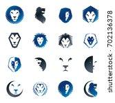 brave lion king faces emblems... | Shutterstock . vector #702136378