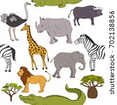 seamless pattern with african... | Shutterstock .eps vector #702138856