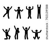 stick figure happiness  freedom ... | Shutterstock .eps vector #702139588