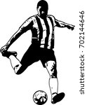 soccer player sketch... | Shutterstock .eps vector #702144646
