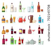 alcoholic and soft drinks.... | Shutterstock .eps vector #702145708