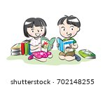 kids reading books | Shutterstock .eps vector #702148255