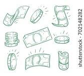 hand drawn money. doodle dollar ... | Shutterstock .eps vector #702148282