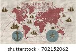 hand drawn vector world map... | Shutterstock .eps vector #702152062