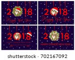 happy new year 2018 greeting... | Shutterstock .eps vector #702167092