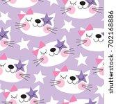 seamless purple white cat... | Shutterstock .eps vector #702168886