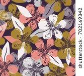 romantic flowers pattern.   Shutterstock .eps vector #702169342